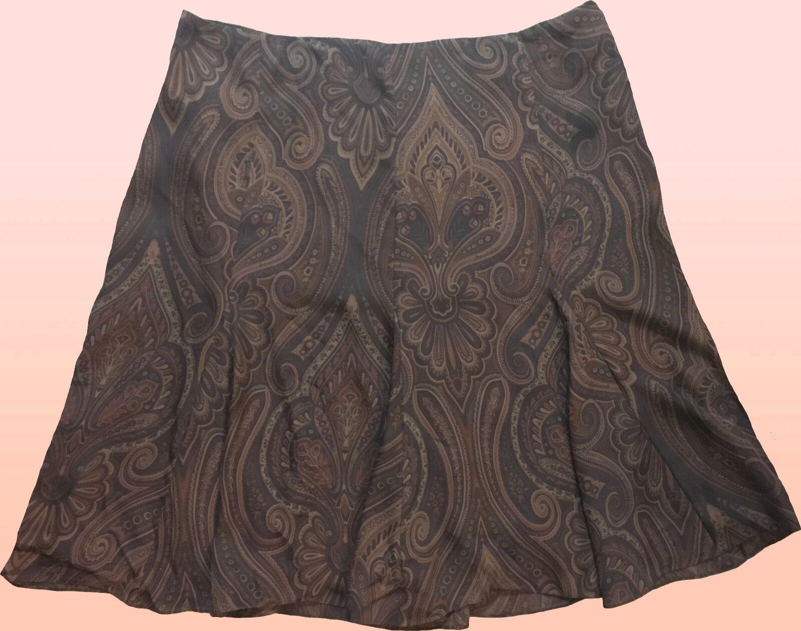 159 Ralph Lauren Linnea Silk Chocolate Multi Paisley Flouncy Godet Skirt