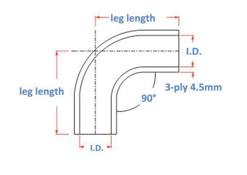 "2/"" to 2.5/"" 90 Degree Elbow Turbo Intercooler Coupler Silicone Hose Universal BK"