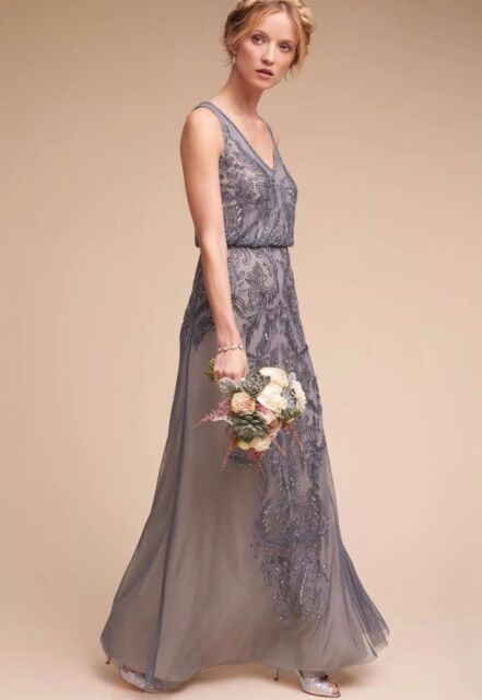 9ebb717a Frequently bought together. Anthropologie BHLDN Aubrey Dress Adrianna Papell  Grey Pewter Sequin ...