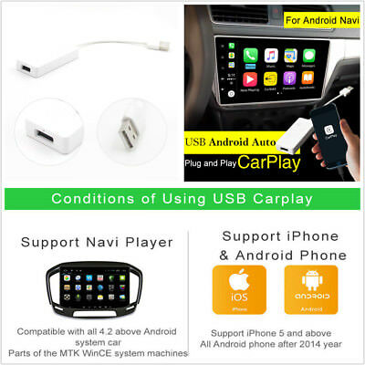 12V USB Carplay Dongle For iPhone iOS10 Android Phone Car GPS Navigation Player