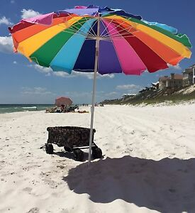 Beach Umbrella With Sand Anchor Rainbow Portable Beach Sun