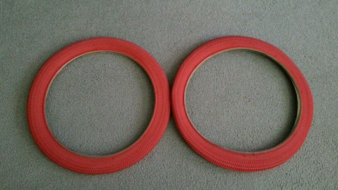 TWO(2) DURO 18X1.95, (52-355) BMX BICYCLE TIRES  RED