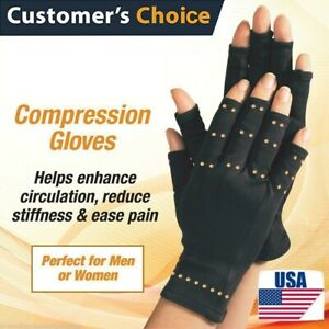 Copper-Hands-Arthritis-Gloves-Therapeutic-Compression-Brace-Magnetic-Joints-USA