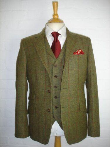 Men/'s Olive Green Stripe Two Button Wool Blend Vintage Tweed Tuxedo Wedding Suit