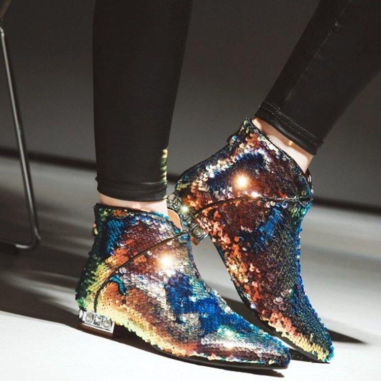 Brillo Brillo Brillo brillante Bloque En Punta De Cuero botas al Tobillo Zapatos De Mujer Zapatos de Tacón Lentejuelas  exclusivo