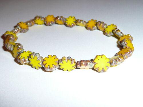Cute Yellow Czech Flat Flower Glass Beads 25 9mm Picasso Finish on Edge