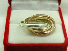 Heavy Three Colour 9ct Gold Russian Wedding Ring Size O