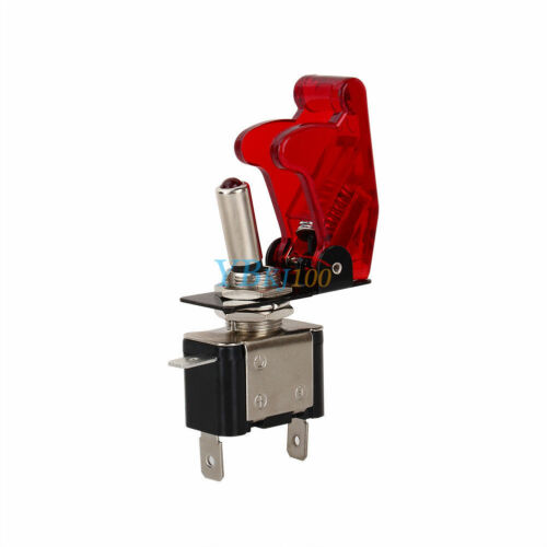 12V 20A Car Auto Red Safety Cover LED Light SPST Toggle Rocker Switch On//Off BT