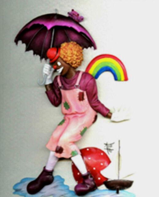 Annie Lee Clown Plaque Pitter Patter/Black Americana Art Liquidation Sale