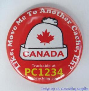 Set-of-8-Trackable-Canadian-Geocaching-Buttons-Toque-Maple-Ammo-Can-amp-More