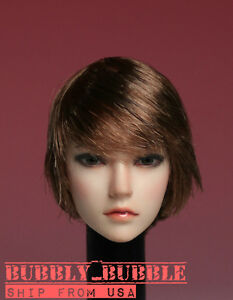 1//6 Asian Female Head Sculpt LONG BROWN HAIR For PHICEN Hot Toys Figure ☆USA☆