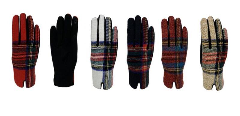 New Fashion Women Fleece Lining Plaid Warm Gloves Red Black White Beige