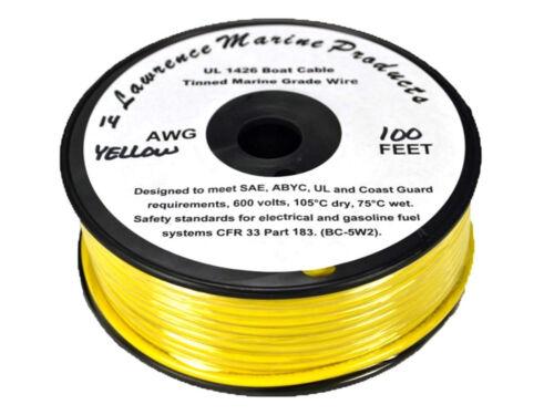 Yellow 14 Gauge Tinned Marine Primary Wire 100 Foot Reel