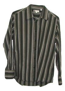 Bachrach mens black grey striped 100 cotton long sleeve for Mens 100 cotton button down shirts