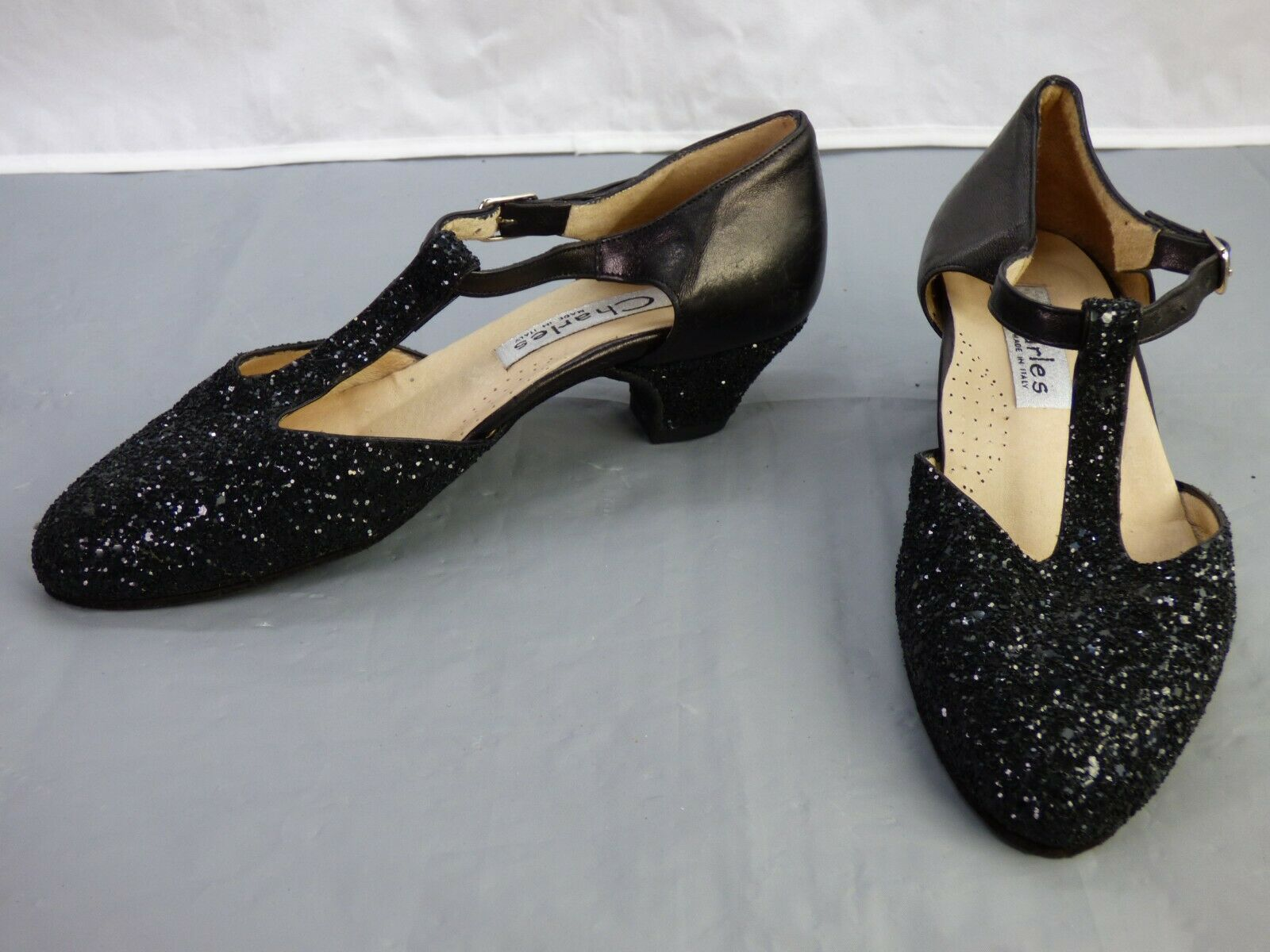 CHARLES Made In Italy Ballroom Dance Black Glitter Tango Salsa Cha Cha Shoes UK3