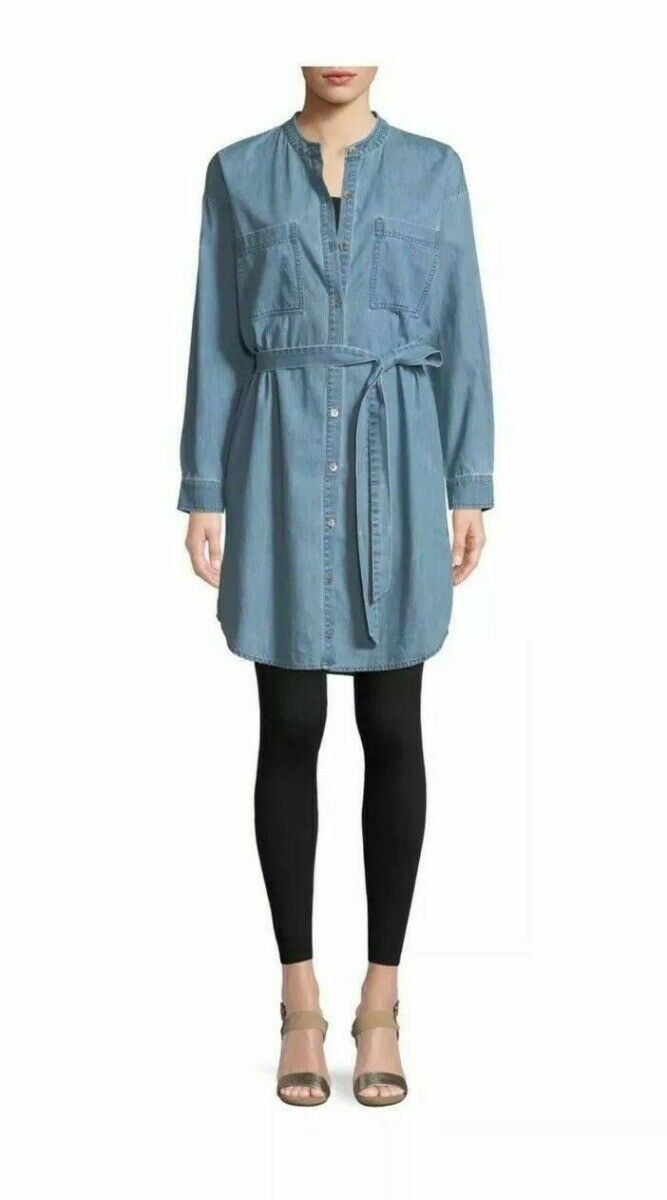 Eileen Fisher Organic Cotton Drapey Denim Mandarin Collar Tie Dress S NWT