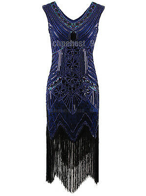 1920's Flapper Dress Gatsby Charleston Sequin Fringe Vintage 20s Party Plus Size