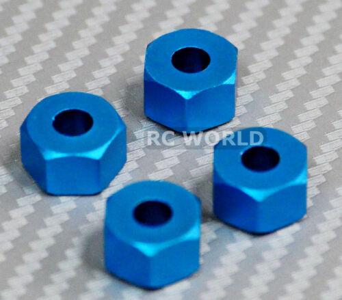 BLUE 4 pcs RC 1//10 Scale Anodized Aluminum 7MM WHEEL 12MM HUB Spacer