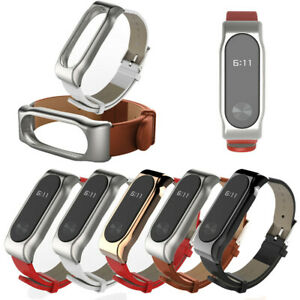 Mijoas-Leather-Smart-Wrist-Watch-Strap-With-Detachable-Case-For-Xiaomi-Mi-Band-2