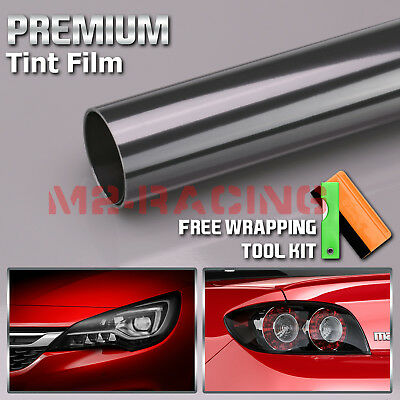 "*12/""x120/"" Cateye Style Dark Black Tint Headlight Taillight Fog Light Vinyl Film"