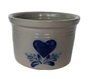 Vintage ELDRETH Primitive Salt Glazed Grey Cobalt Blue Heart CROCK Pottery