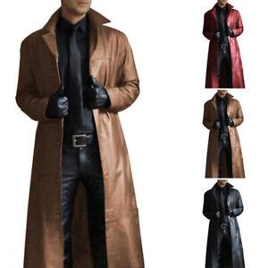 Winter-Men-Gothic-Steampunk-Long-Trench-Coat-Faux-Leather-Jacket-Windbreaker-New