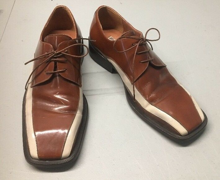 Emilio Franco Mens US 8 Two Tone braun Tan Leather Lace-Up Oxfords Dress schuhe