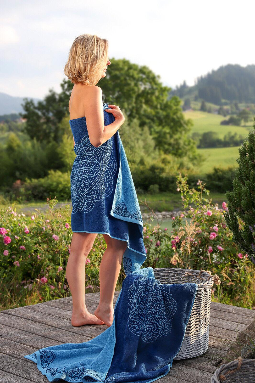Handtuch Biobaumwolle Blau Blaume des Lebens 69 × 155 cm  Edelsteine Badetuch