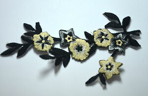 Black and white flowers trim embroidered sew iron on cloth
