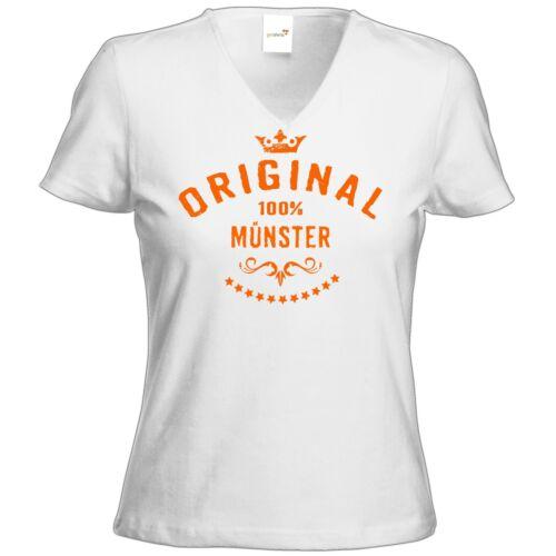 getshirts RAHMENLOS® Geschenke T-Shirt Damen V-Neck Staedte Muenster..
