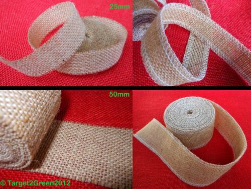 Yute Natural Arpillera Hesse Adornos Cinta Ribbon Rústico Boda Decoración Nueva Floristry