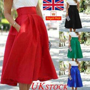 UK-Womens-A-Line-Skater-Skirt-Ladies-High-Waist-Midi-Dress-Sundress-Party-Casual