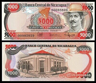 NICARAGUA  5000 CORDOBAS 1985  Serie G   P.146  Low s//n  Uncirculated