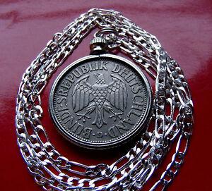 "1950-1994 Germany 1 Deutsche Mark Coin Jewelry Pendant 24"" 925 Silver Chain,"
