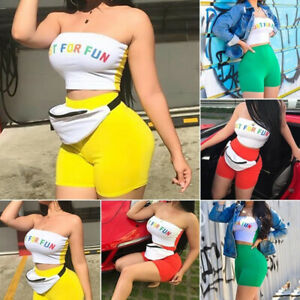 Crop-Top-Club-Wear-Shorts-Sets-Tracksuit-Outfits-Letter-Printed-Two-Piece-Set