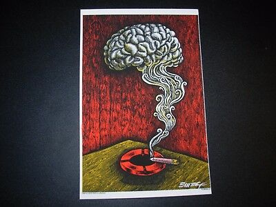 "EMEK Handbill Silkscreen Print BRAIN SMOKE Red Signed 4.5 X 7/"" like poster art"