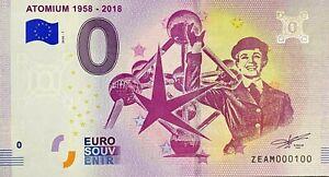 BILLET-0-EURO-ATOMIUM-1958-2018-BELGIQUE-2018-NUMERO-100
