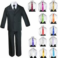 6pc Baby Toddler Boy Teen Black Formal Wedding Tuxedo Suits + Satin Necktie S-20