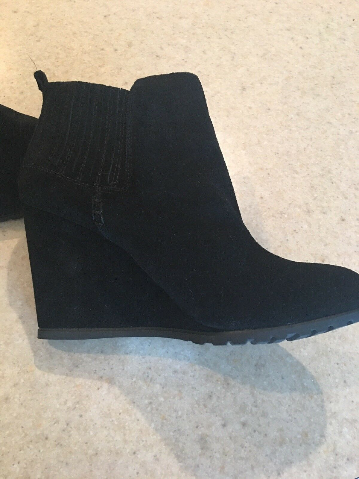 Gianni Bini Black Suede Wedge Heel Ankle Boots Womans Size 11