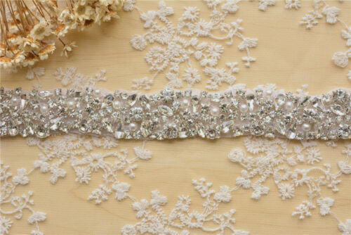 Vestido de Novia Vestido de Boda Adorno de Diamante de Imitación hágalo usted mismo Diamante Cadena Cinta Con Cuentas De Perla