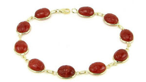 14K-Yellow-Gold-Scarab-Bracelet-With-Carnelian-Gemstones-7-25-Inches