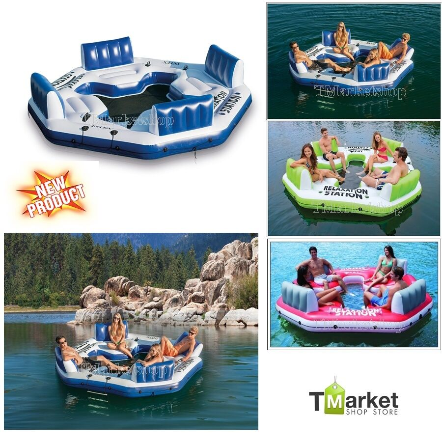 Relaxation Station Pool Lounge: 4-Person Inflatable Float Raft Intex Water Pool Gaint