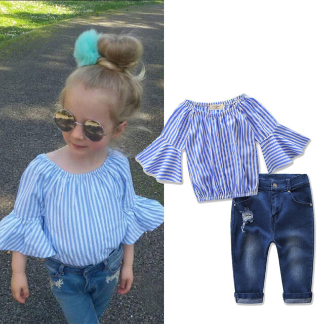 Toddler Kids Baby Girl Stripe T-Shirt Tops+Denim Jeans Pants Clothes Outfit Set