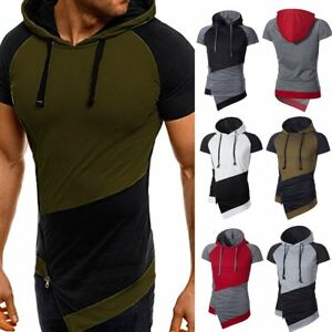 Fashion-Men-039-s-Slim-Fit-Hooded-Short-Sleeve-Muscle-Tee-T-shirt-Casual-Tops-Blouse