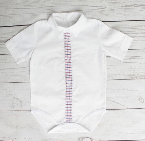 Baby Boy White Smart Shirt Style Formal Bodysuit Body Shirt Short Sleeve 0-18M