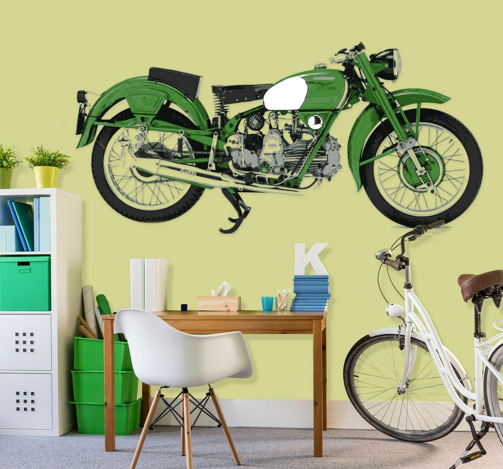 3D Grün Motorbike B93 Car Wallpaper Mural Poster Transport Wall Stickers Wed