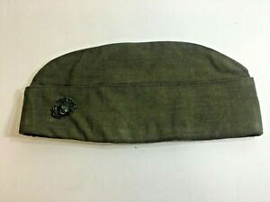 Details about WWII Marine Garrison Cap with Droop Wing pin canvas green  Name inside O'brien