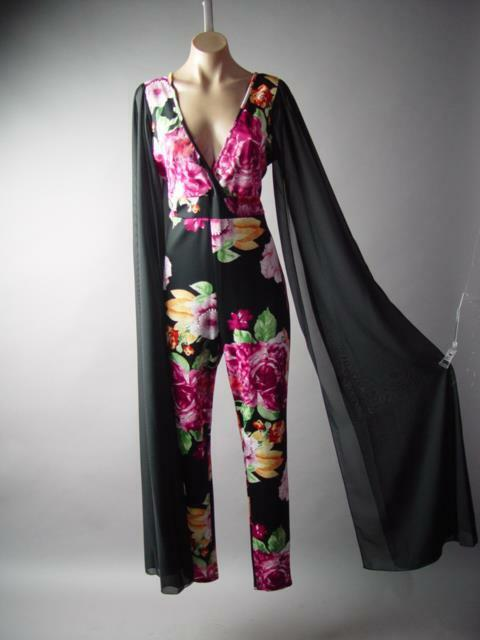 Extreme Extra Long Flare Kimono Sleeve Floral Evening Dress Pant 293 mv Jumpsuit