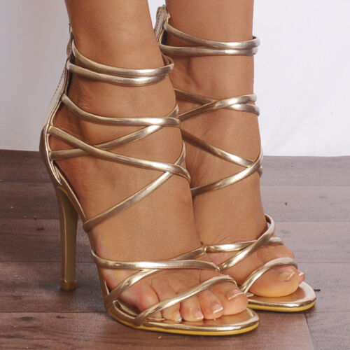 Ladies gold metallic There Peep Toes Strappy Sandals High Heels Shoes Sz
