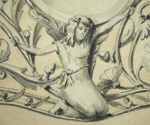 Humbert-Study-of-Mirror-Art-Nouveau-c1895-48cm-Technique-Mixed-Drawing-Original